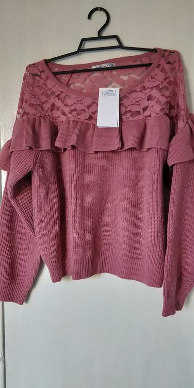 Новая женская кофта свитер с ажурными вставками - Фото 8