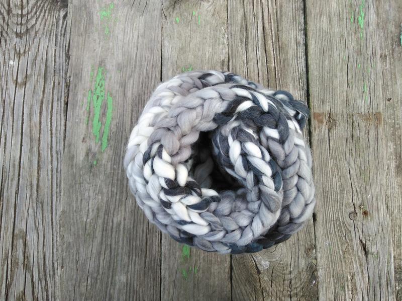 Снуд шарф 100% шерсть мериноса вязаный зимний снуд теплый шарф