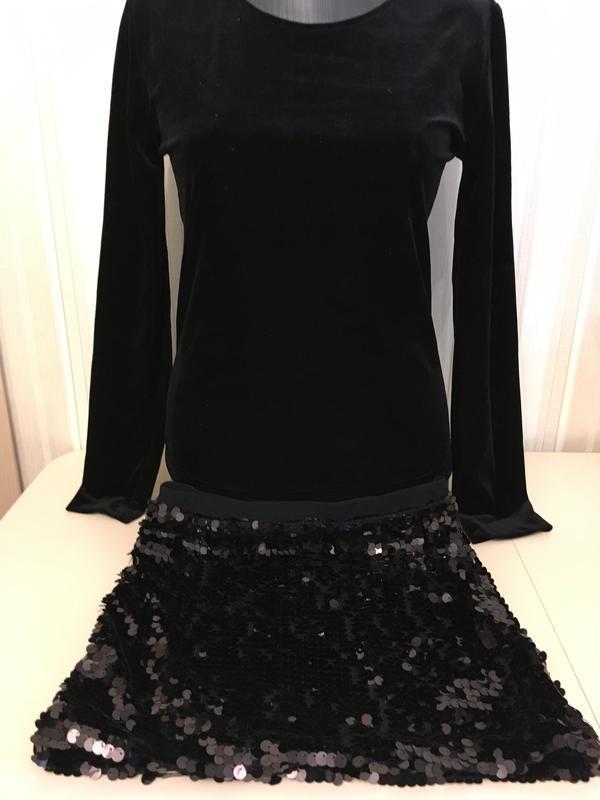 Черный костюм кофта + юбка/ пайетки / carrina belle