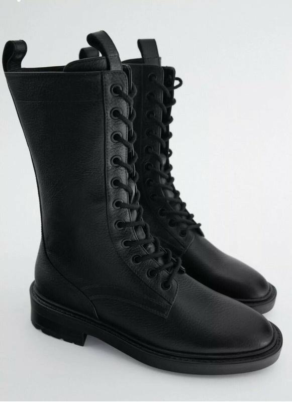 Высокие кожаные ботинки zara