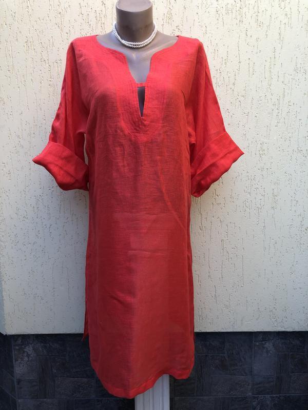 Красное,платье,туника,лен100%,летнее,легкое,пляжное,