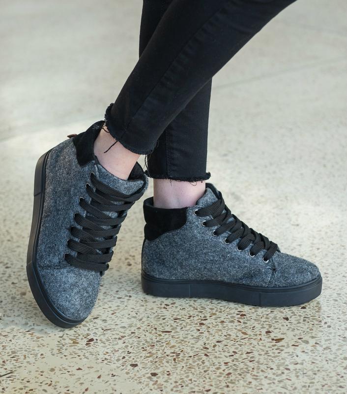 36-41 натуральные ботинки из фетра / деми зима / серые - Фото 2