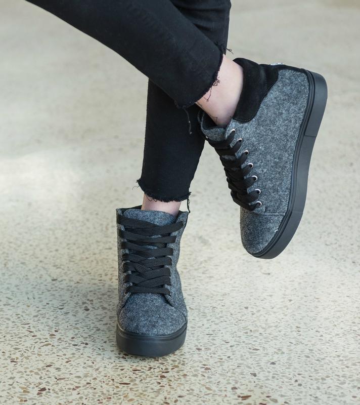 36-41 натуральные ботинки из фетра / деми зима / серые