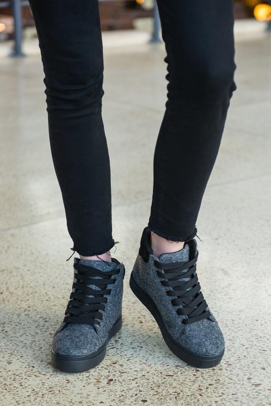 36-41 натуральные ботинки из фетра / деми зима / серые - Фото 3