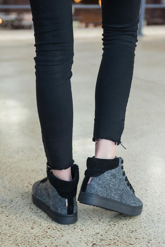 36-41 натуральные ботинки из фетра / деми зима / серые - Фото 4