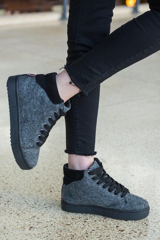 36-41 натуральные ботинки из фетра / деми зима / серые - Фото 5