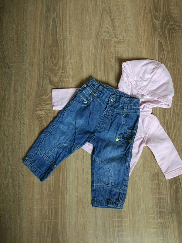 Стильные джинсовые штанишки джеггинсы на девочку 3-6 мес.