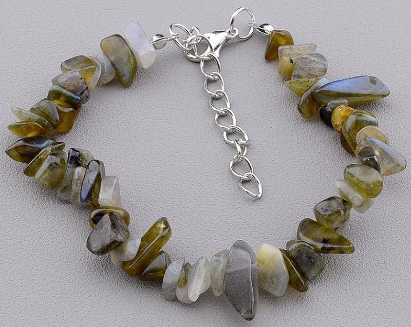 Шикарный браслет из натурального камня лабрадор.