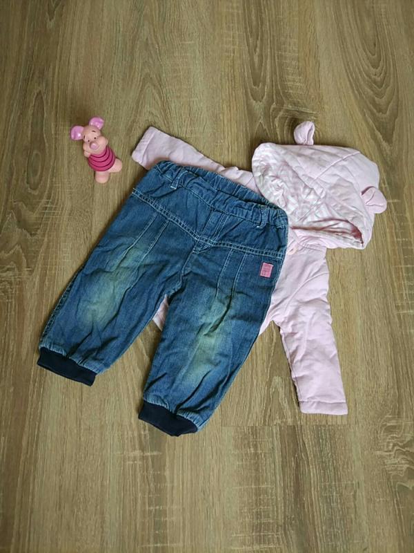 Джинсовые утеплённые штанишки на девочку 3-6 мес.