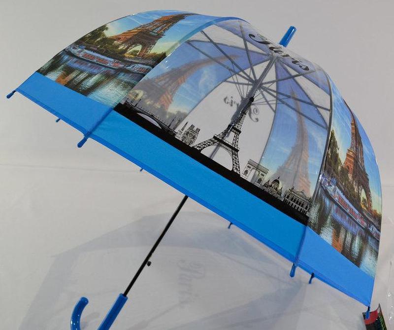 Молодежные прозрачные зонты-трости грибочком с Эйфелевой башней - Фото 2