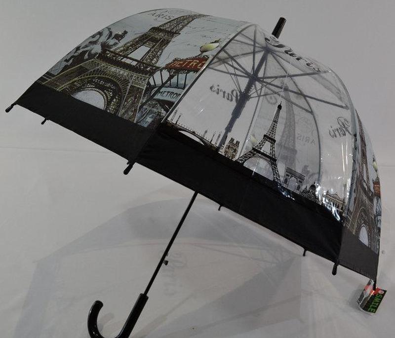 Молодежные прозрачные зонты-трости грибочком с Эйфелевой башней - Фото 3