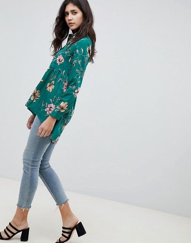 Блузка длинный рукав в цветочный influence