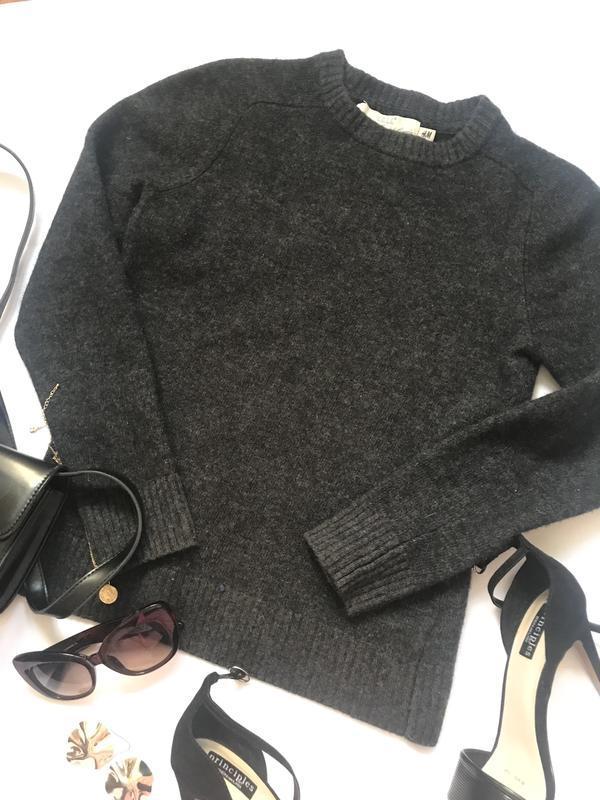 Базовый шерстяной свитер h&m р.м