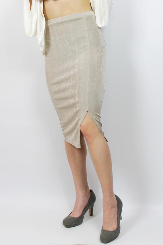 Новая! трендовая миди юбка нюдового цвета\нюд с разрезом missg... - Фото 3