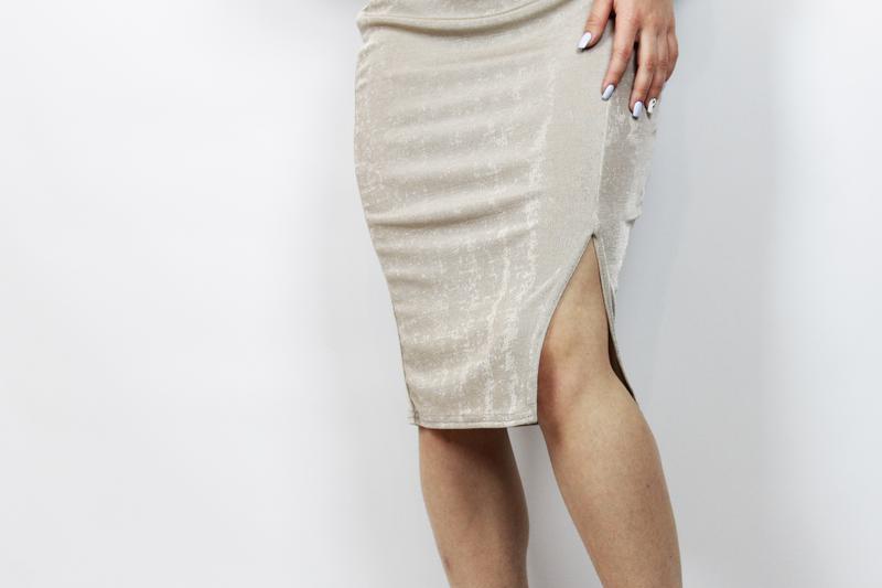 Новая! трендовая миди юбка нюдового цвета\нюд с разрезом missg... - Фото 4