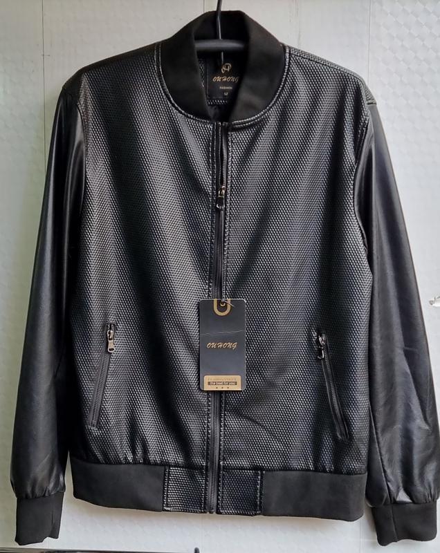 Куртка мужская кожезаменитель весенне осенняя - Фото 6