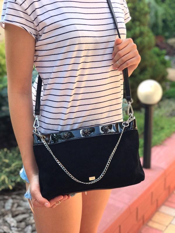 Женская замшевая сумка velina fabbiano чёрная фиолетовая