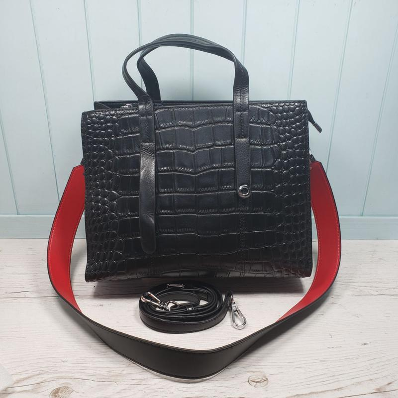 Женская кожаная сумка черная крокодил жіноча шкіряна чорна - Фото 3