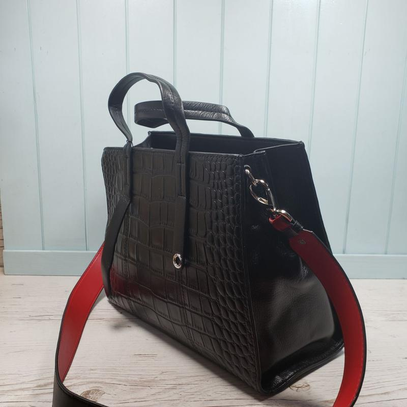 Женская кожаная сумка черная крокодил жіноча шкіряна чорна - Фото 5