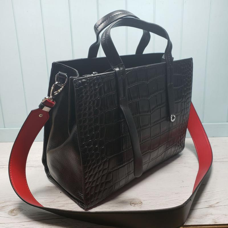 Женская кожаная сумка черная крокодил жіноча шкіряна чорна - Фото 6