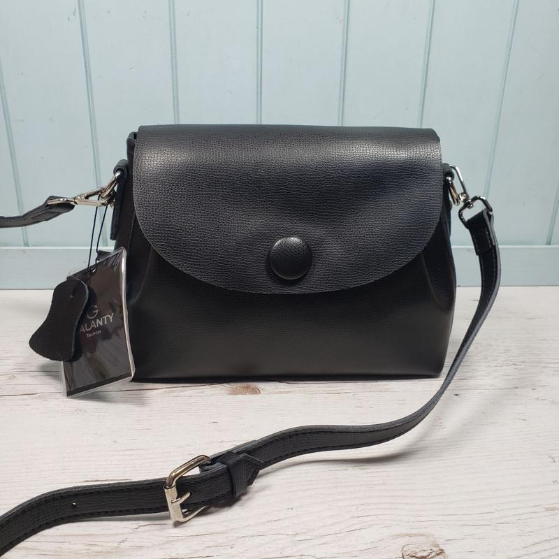 Женская кожаная сумка galanty чёрная с пуговицей жіноча шкірян... - Фото 3