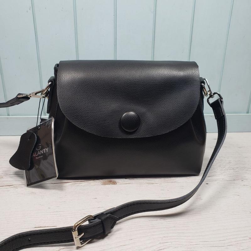Женская кожаная сумка galanty чёрная с пуговицей жіноча шкірян... - Фото 4