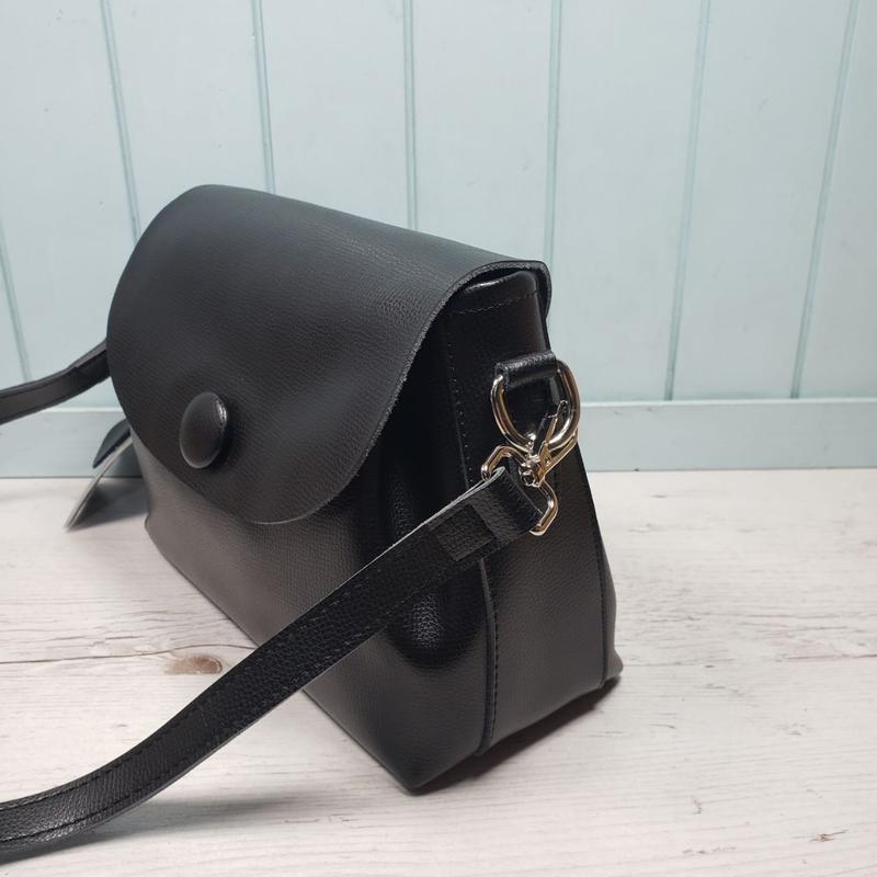 Женская кожаная сумка galanty чёрная с пуговицей жіноча шкірян... - Фото 5
