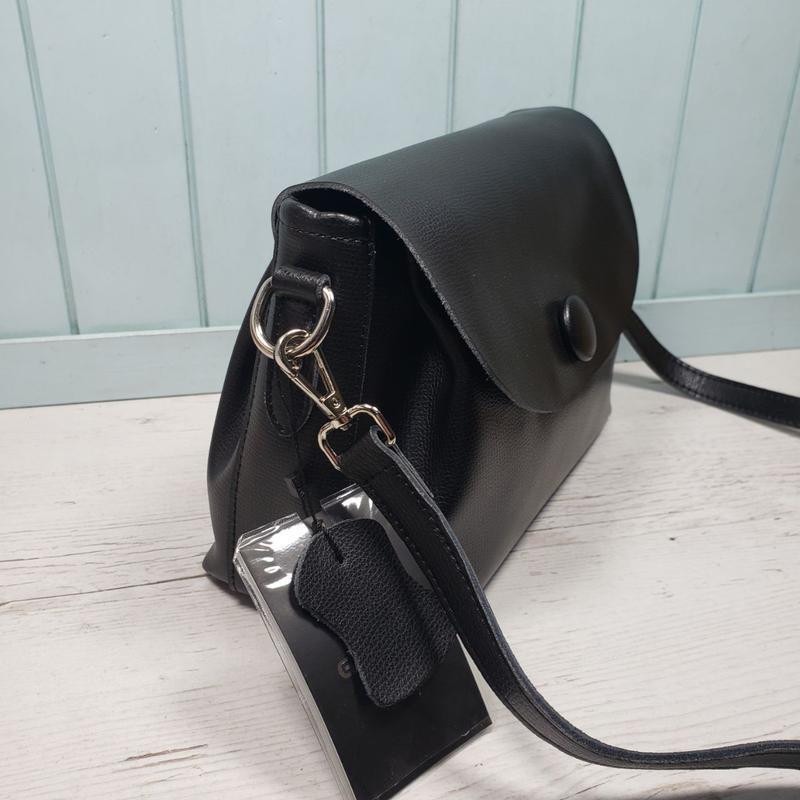 Женская кожаная сумка galanty чёрная с пуговицей жіноча шкірян... - Фото 6