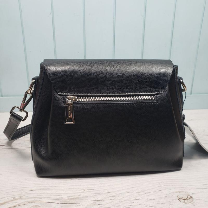 Женская кожаная сумка galanty чёрная с пуговицей жіноча шкірян... - Фото 7