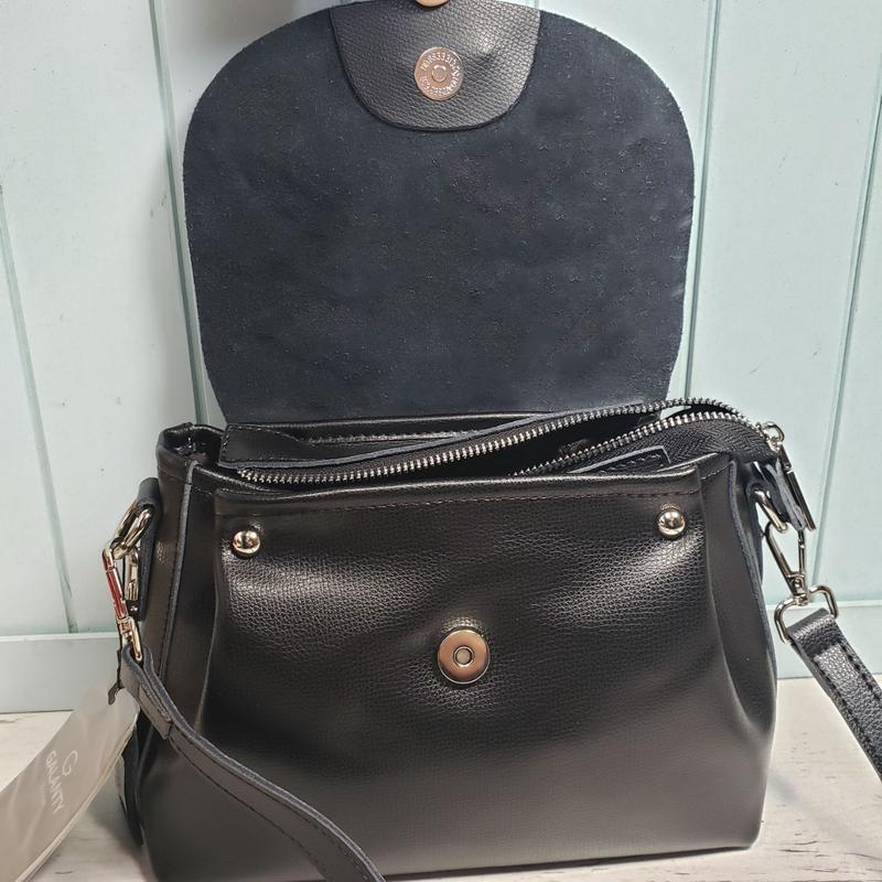 Женская кожаная сумка galanty чёрная с пуговицей жіноча шкірян... - Фото 8