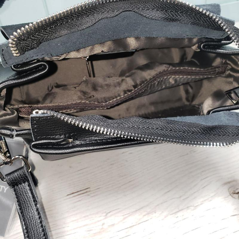 Женская кожаная сумка galanty чёрная с пуговицей жіноча шкірян... - Фото 9