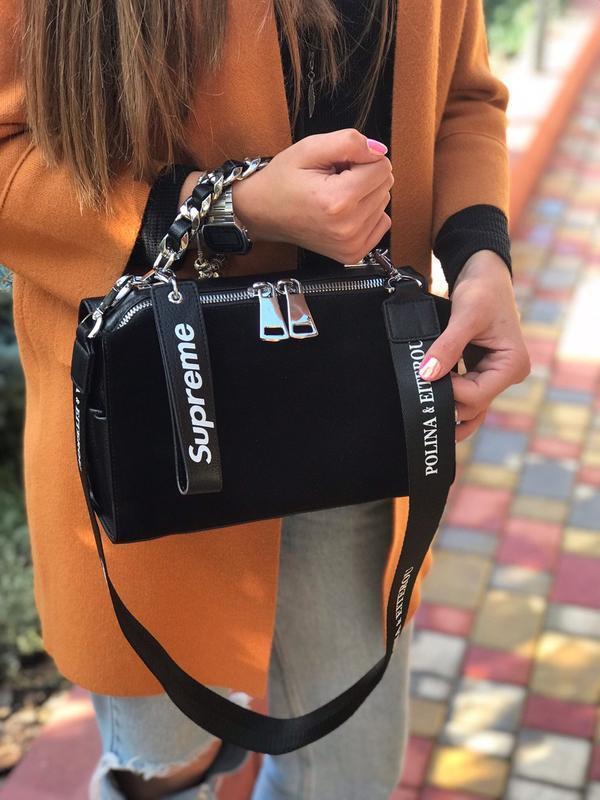 Женская замшевая  сумка polina & eiterou чёрная жіноча замшева...