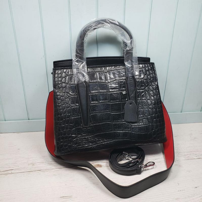 Женская кожаная сумка со структурой крокодила жіноча шкіряна ч...