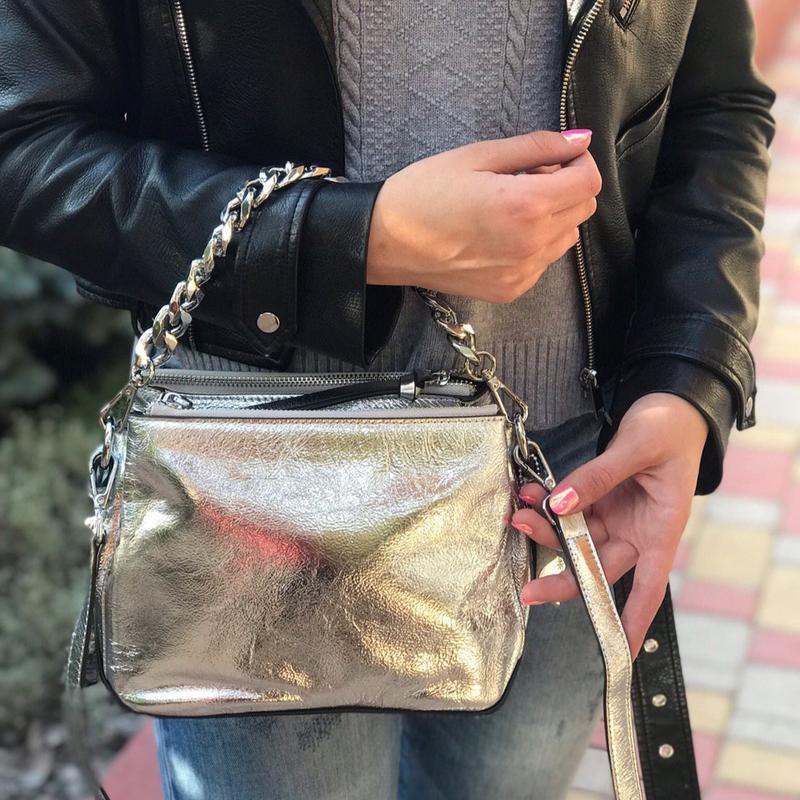 Женская кожаная сумка черная серебристая бронзовая жіноча шкір...