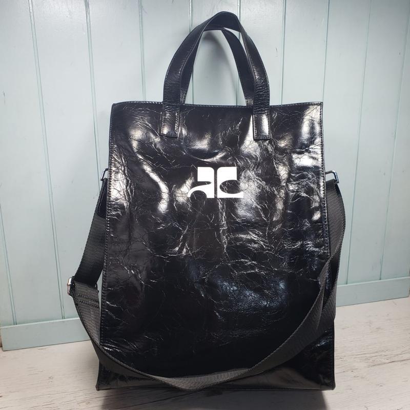 Женская кожаная сумка пакет большая чёрная жіноча шкіряна чорна