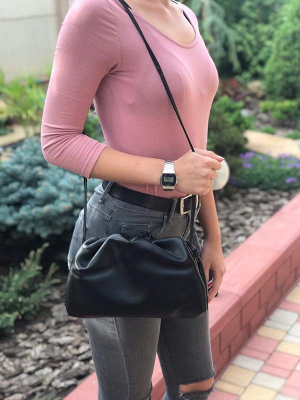 Женская кожаная сумка pouch облако жіноча шкіряна чорна