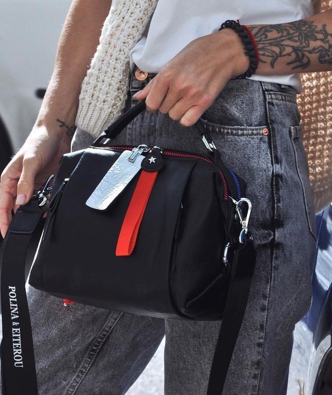 Женская кожаная сумка трансформер черная polina & eiterou жіно...