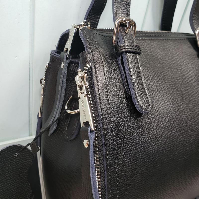 Женская кожаная сумка galanty чёрная жіноча шкіряна чорна - Фото 2