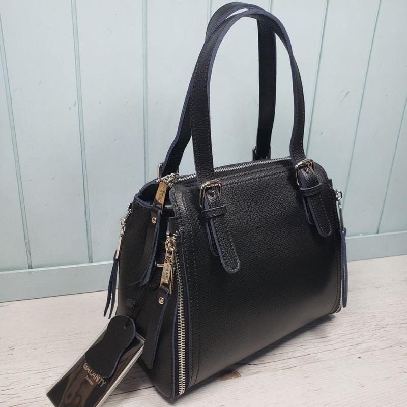 Женская кожаная сумка galanty чёрная жіноча шкіряна чорна - Фото 3