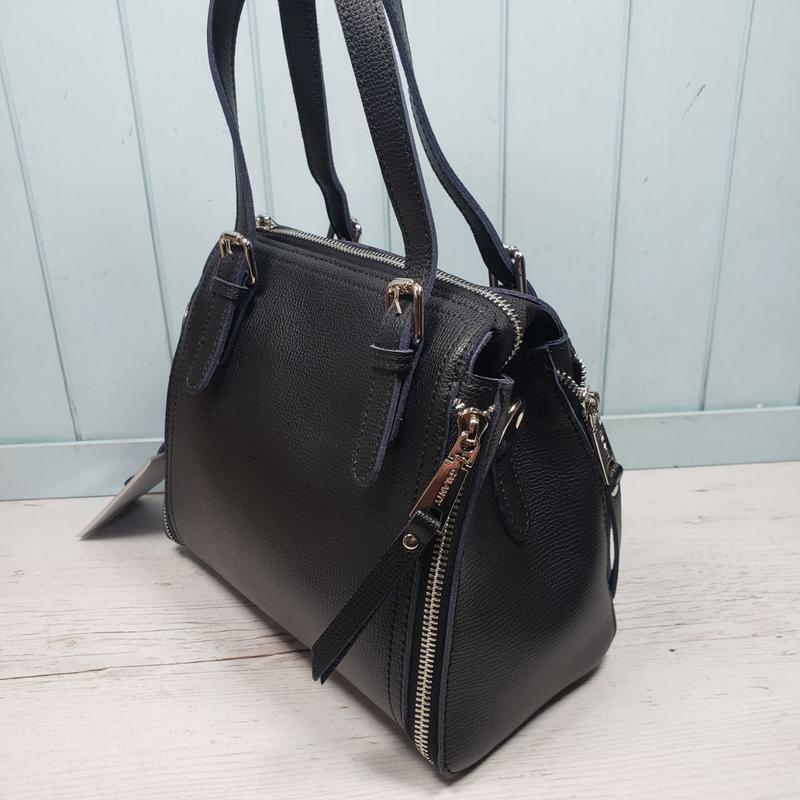 Женская кожаная сумка galanty чёрная жіноча шкіряна чорна - Фото 4