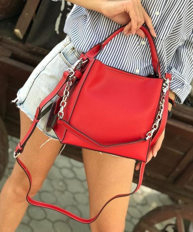 Женская кожаная сумка polina & eiterou красная чёрная жіноча ш...