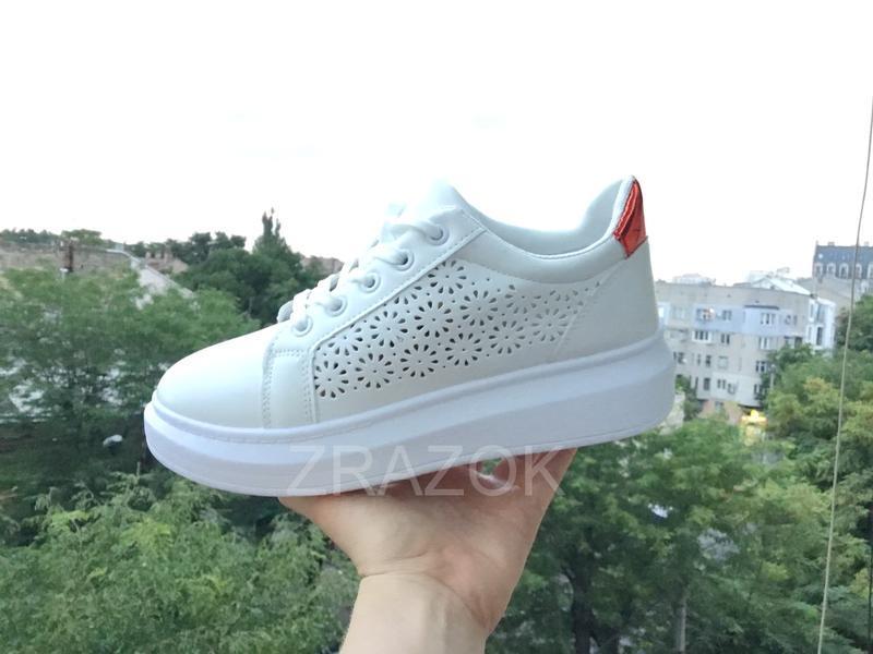 Белые кеды в стиле alexander mcqueen,белые летние кроссовки на... - Фото 6