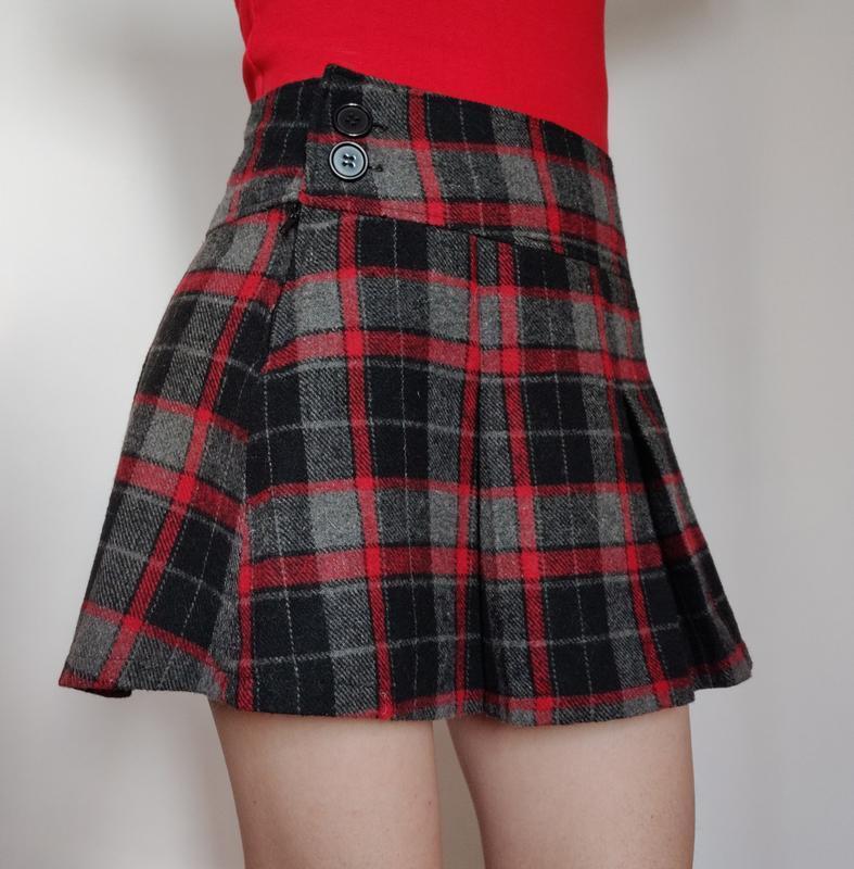 Распродажа! трендовая теплая юбка в клетку с шерстью на осень ...