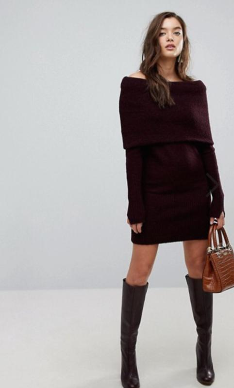 Тёплое платье свитер цвета марсала river island размер 8