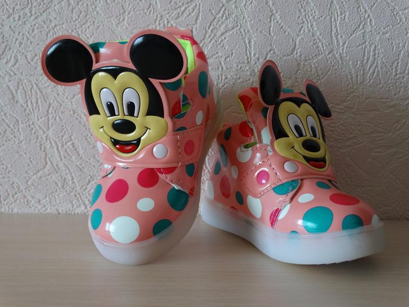Демисезонные ботинки на девочку (со светящейся подошвой)