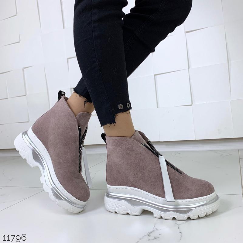 Зимние ботинки из натуральной замши в четырех расцветках - Фото 2