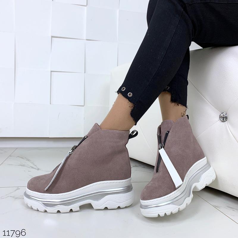 Зимние ботинки из натуральной замши в четырех расцветках - Фото 4