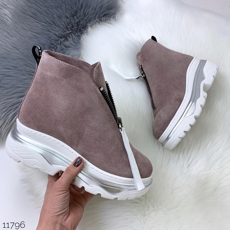 Зимние ботинки из натуральной замши в четырех расцветках - Фото 5