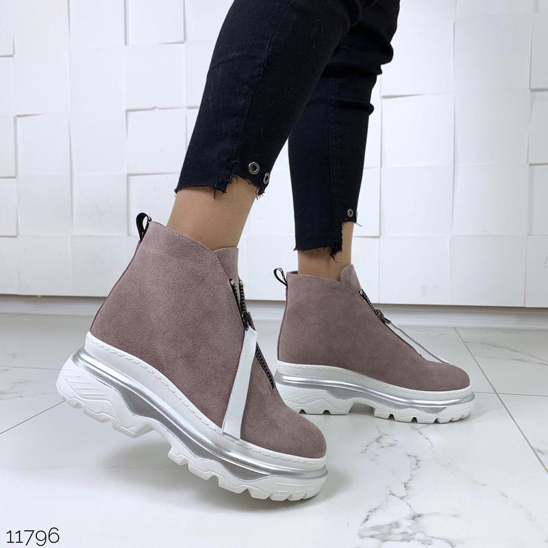 Зимние ботинки из натуральной замши в четырех расцветках - Фото 8