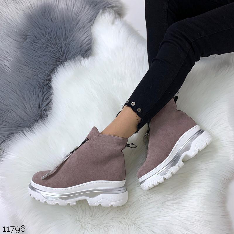 Зимние ботинки из натуральной замши в четырех расцветках - Фото 9